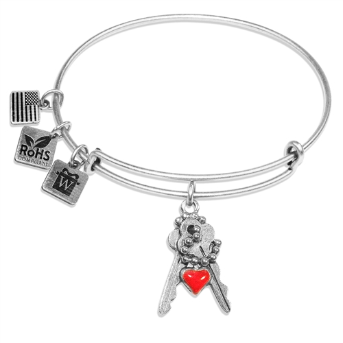 Keys with Heart Charm Bangle in Silver