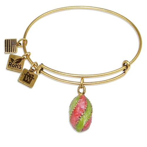 Easter Egg Pendant Charm Bangle in Gold