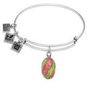 Easter Egg Pendant Charm Bangle in Silver