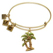 Palm Trees Charm Bangle in Gold