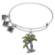 Palm Trees Charm Bangle in Silver