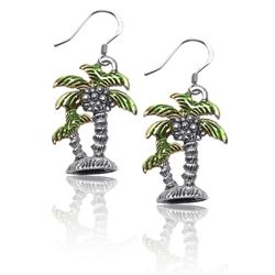 Palm Trees Charm Earrings in Silver