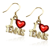 I Love Tennis Charm Earrings in Gold