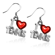 I Love Tennis Charm Earrings in Silver