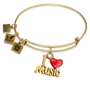 I Love Music Charm Bangle in Gold
