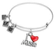 I Love Music Charm Bangle in Silver