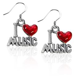 I Love Music Charm Earrings in Silver