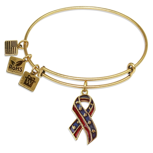 Stars and Stripes Ribbon Charm Bangle in Gold