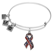 Stars and Stripes Ribbon Charm Bangle in Silver