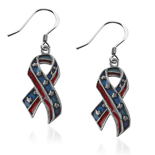 Stars and Stripes Ribbon Charm Earrings in Silver