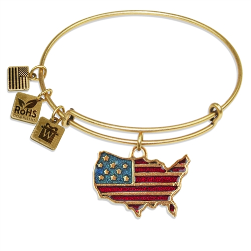 Stars and Stripes Flag Charm Bangle in Gold