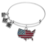 Stars and Stripes Flag Charm Bangle in Silver