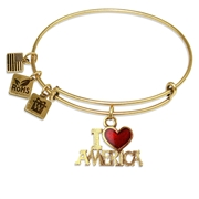 I Love America Charm Bangle in Gold