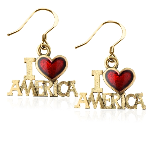 I Love America Charm Earrings in Gold