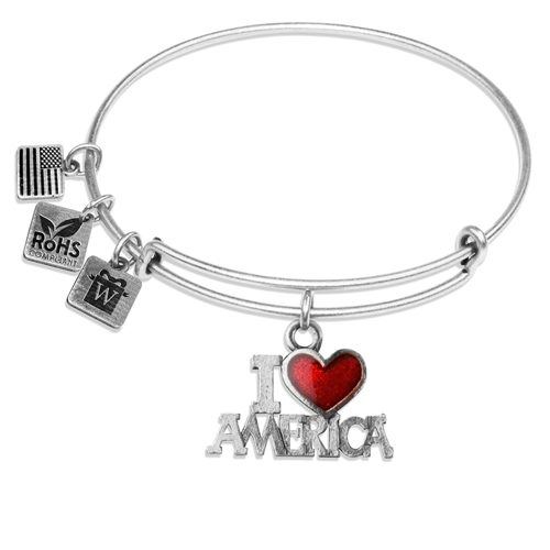 I Love America Charm Bangle in Silver