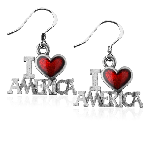 I Love America Charm Earrings in Silver