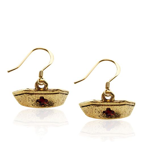 Whimsical Gifts Nurse Hat Charm Earrings in Gold