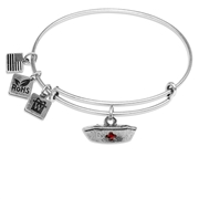 Nurse Hat Charm Bangle in Silver