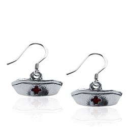 Whimsical Gifts Nurse Hat Charm Earrings in Silver
