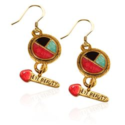 Eye Shadow & Brush Charm Earrings in Gold