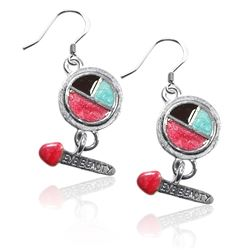 Eye Shadow & Brush Charm Earrings in Silver
