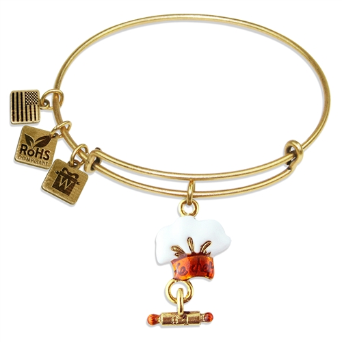 Chef Hat Charm Bangle in Gold