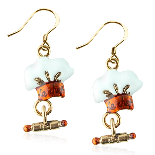 Chef Hat Charm Earrings in Gold