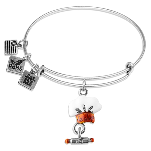 Chef Hat Charm Bangle in Silver