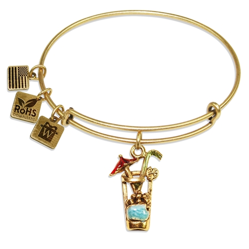 Cocktail Drink Charm Bangle in Gold
