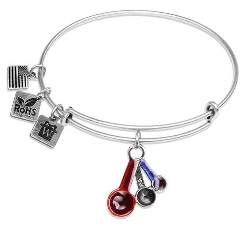 Measuring Spoons Charm Bangle in Silver