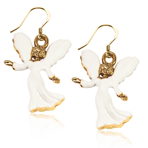 Angel Charm Earrings in Gold