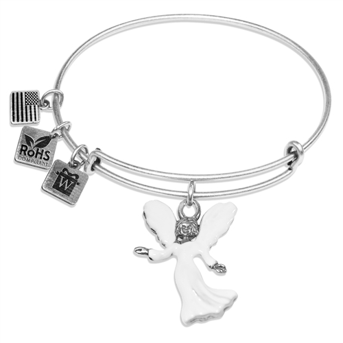Angel Charm Bangle in Silver