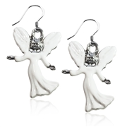 Angel Charm Earrings in Silver