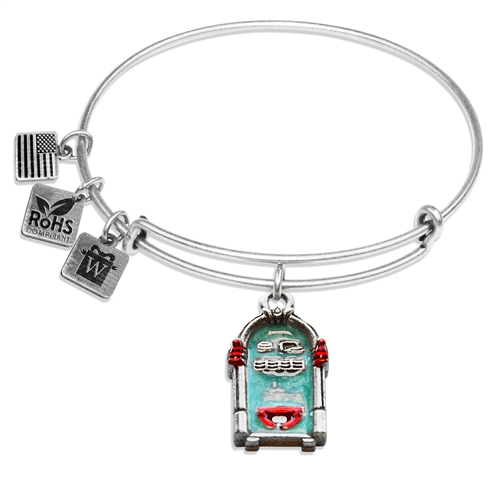 Jukebox Charm Bangle in Silver