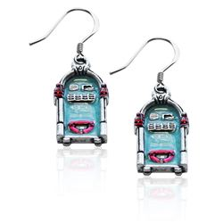 Jukebox Charm Earrings in Silver
