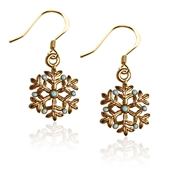 Snowflake Charm Earrings in Gold
