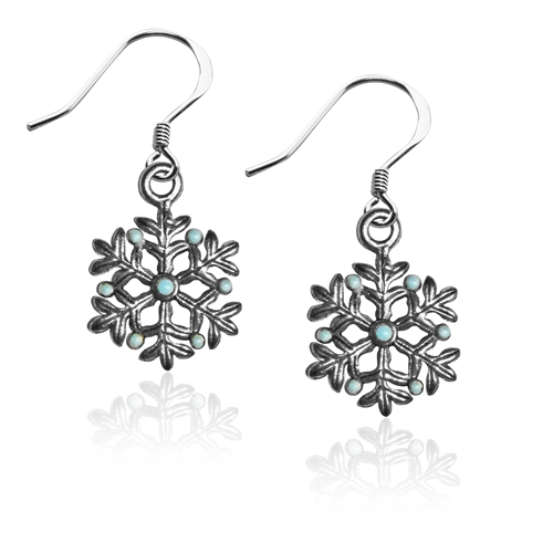 Snowflake Charm Earrings in Silver