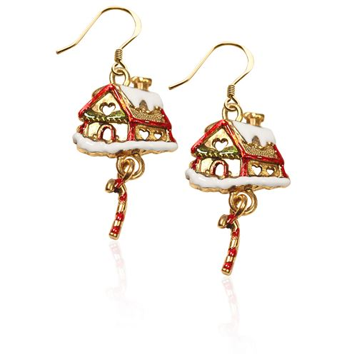 Gingerbread House Charm Earrings in Gold