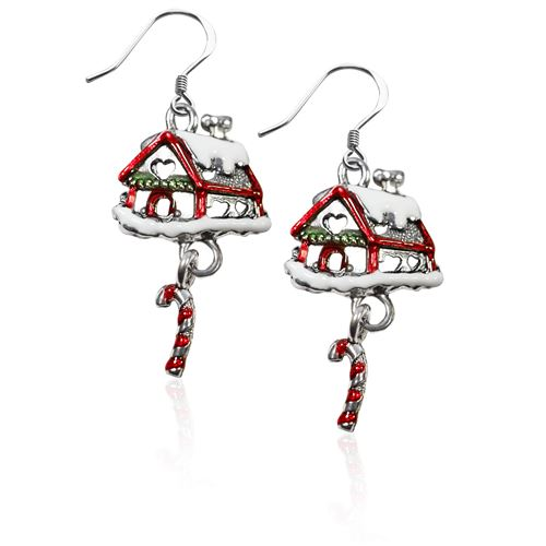 Gingerbread House Charm Earrings in Silver