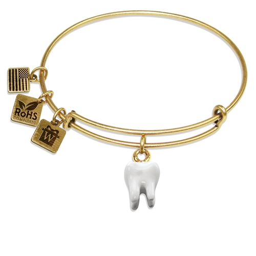 Tooth Charm Bangle in Gold