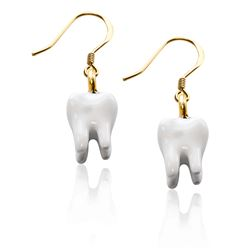 Whimsical Gifts Tooth Charm Earrings in Gold