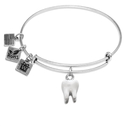 Tooth Charm Bangle in Silver
