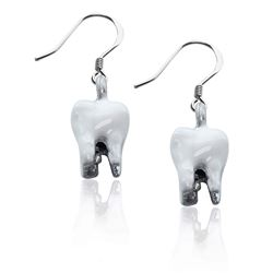 Whimsical Gifts Tooth Charm Earrings in Silver