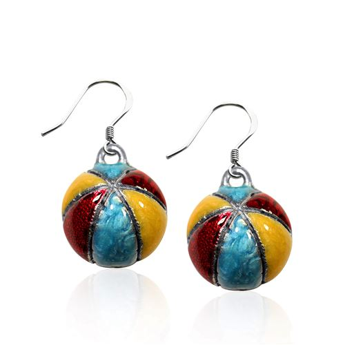 Beach Ball Charm Earrings in Silver