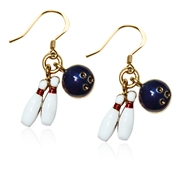 Bowling Charm Earrings in Gold