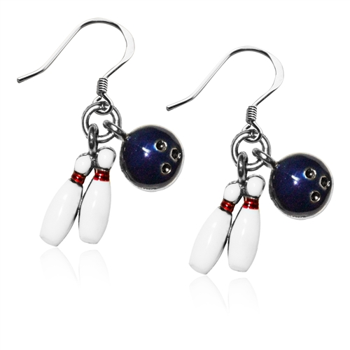 Bowling Charm Earrings in Silver