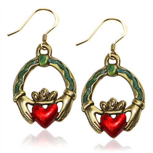 St. Patrick's Claddagh Charm Earrings in Gold