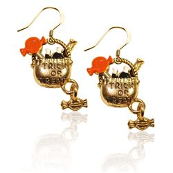 Trick or Treat Charm Earrings in Gold