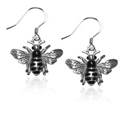 Bumble BeeCharm Earrings in Silver