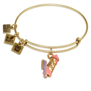 Hair Spray & Comb Charm Bangle in Gold